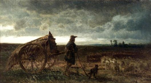 Shepherd And Sheep At Sundown