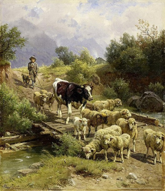 Shepherd Boy And Herd In The Mountains