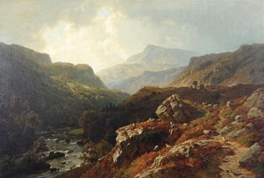 Shepherd Tending To His Sheep By A Mountain Stream