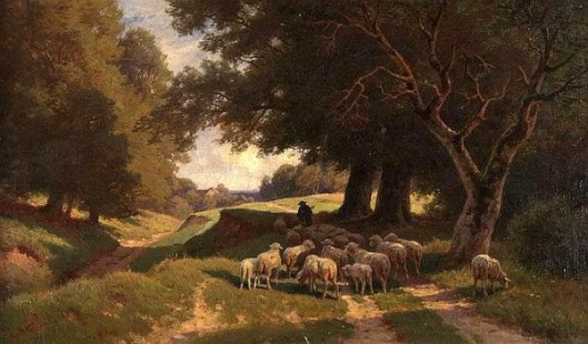 Shepherd With His Flock Near The Forest
