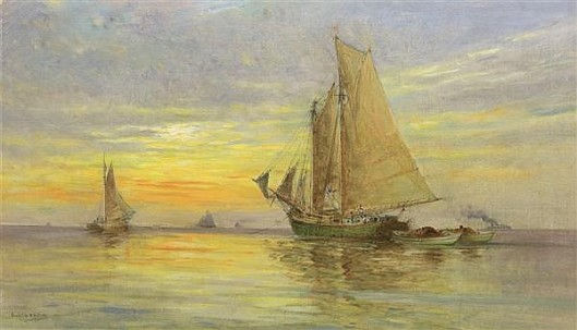 Ships At Sea - Schooners At Sunset