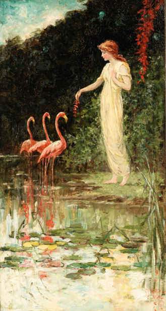 Standing Woman With Three Pink Flamingoes