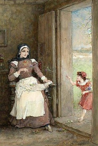 The Scarlet Letter - Pearl Entering The Doorway, Hester Seated