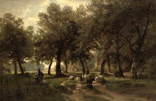 A Shepherd With Sheep On A Sunlit Country Track