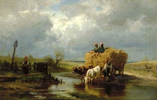 Figures With Cows In A Stream