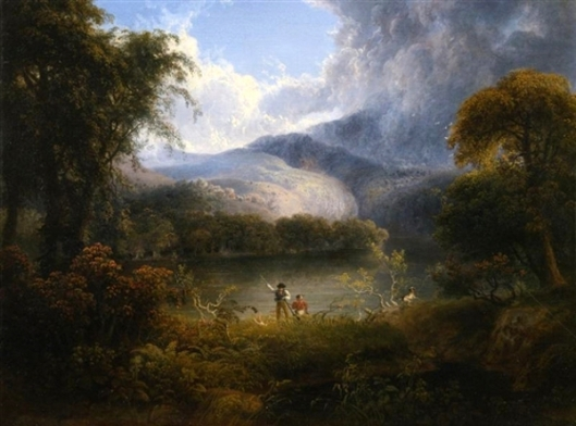 Hunters With A Dog In A Landscape