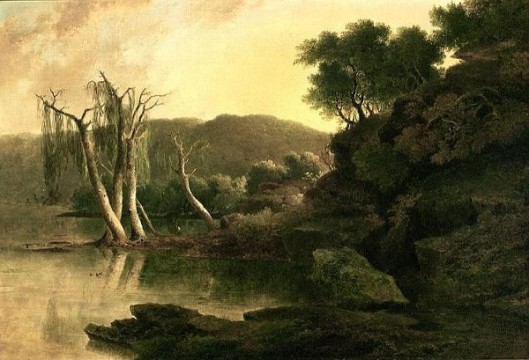 Lake Scene With Two Deer