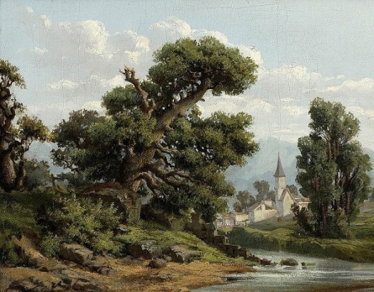 River Landscape With Village