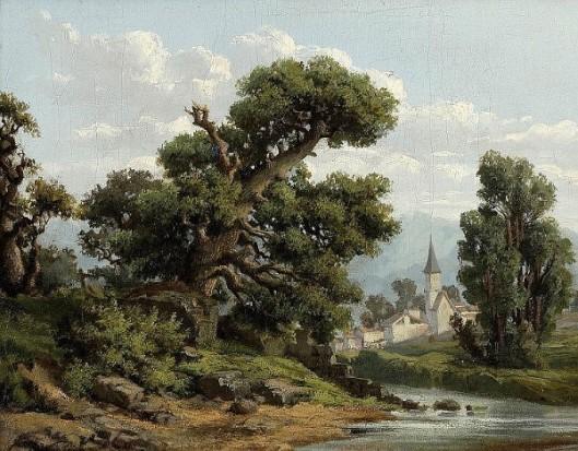 River Landscape With Village