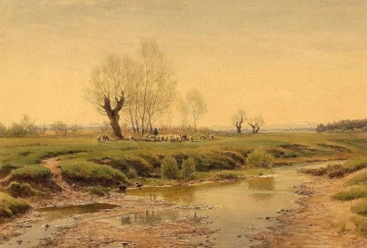 Shepherd With Flock By The Stream