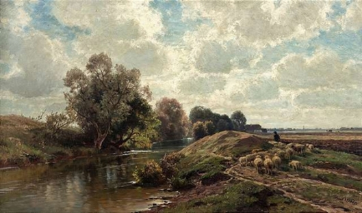 Summery River Landscape With A Flock Of Sheep