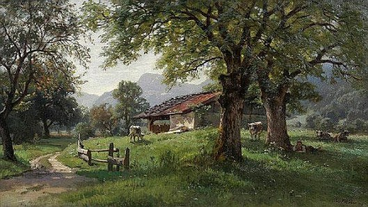 Sunlit Meadow With Cows And A Shepherd In The Shade