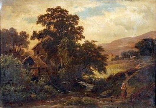 The Walk To The Mill - Crossing A Stream In A Farm Landscape