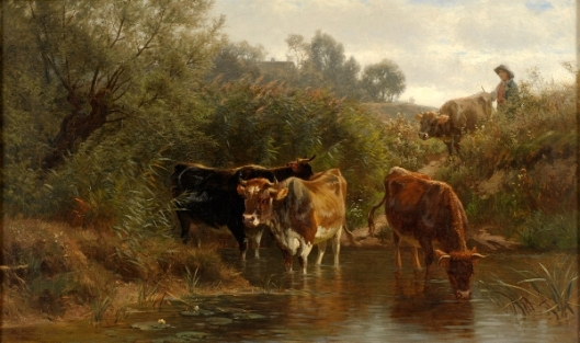 The Watering Place - Cattle At The Ford