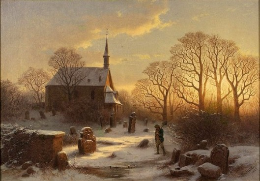 Winter Sunset Scene With Church Graveyard