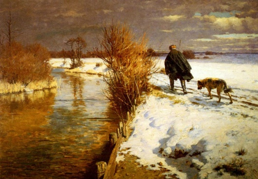 A Hunter In A Winter Landscape