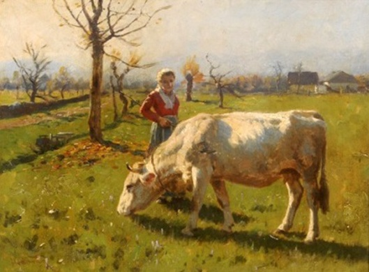 A Lass And Her Cow