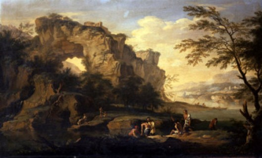 A Rocky River Landscape With Fishermen