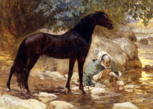 An Arab Watering His Horse By A River