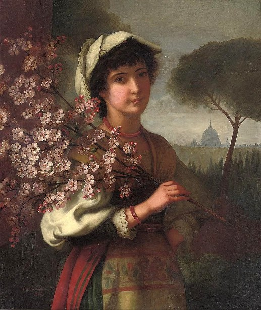 An Italian Girl With Cherry Blossom