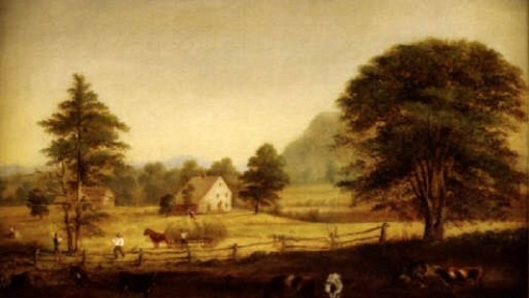 Autumnal Landscape With House, Barn, Animals And Family Haying The Fields