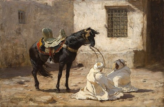 Black Stallion And Two Bedouin Men In A Wind Storm