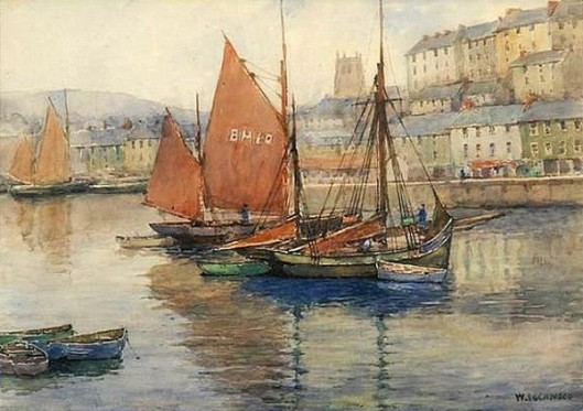 Brixham, England Harbor Scene With Fishing Boats And Sailboats
