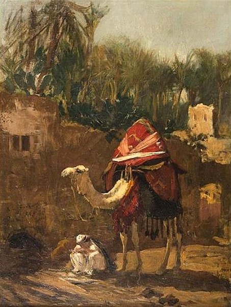 Camel And Merchant At A Town Gate