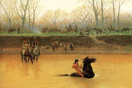 Fording A Stream - Breaking A Pony