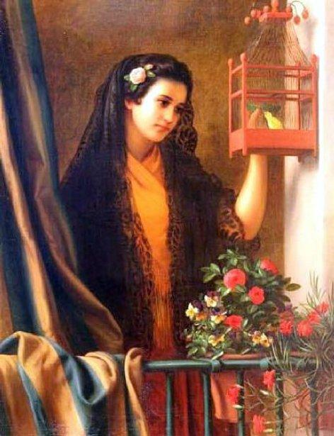 Girl Feeding The Bird - Señorita