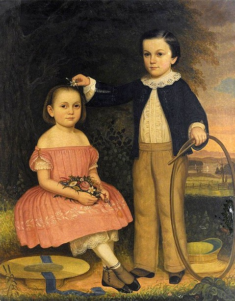 Girl In Pink With Flowers, Boy With Hoop And Stick