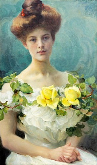 Girl With Yellow Roses
