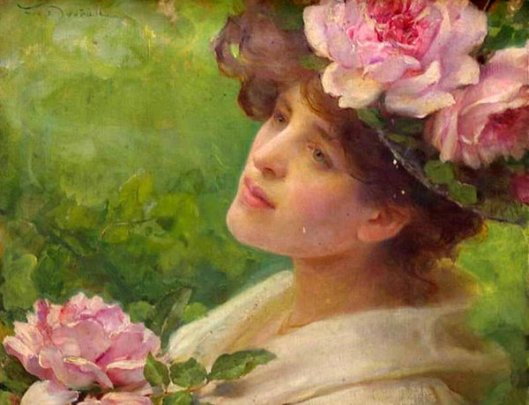 Head Of A Woman With Peonies