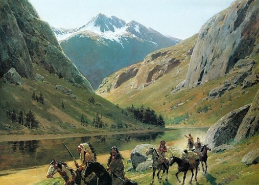 Indian Marauders In Party Fording Stream