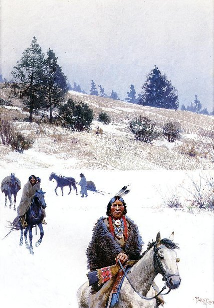 Indians In Winter - Moving Camp