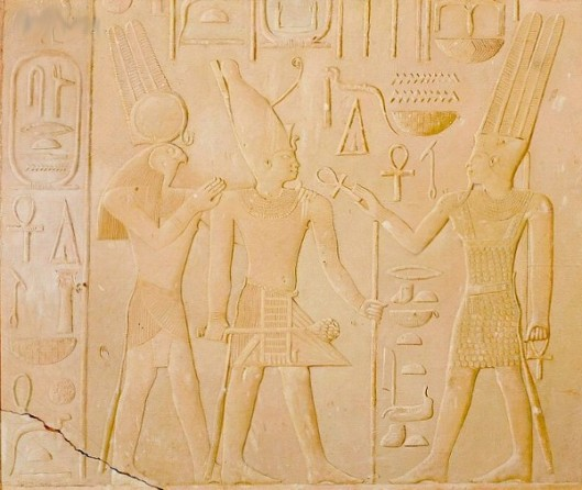 King Sesostris Between The Gods Amun And Horus-Ra