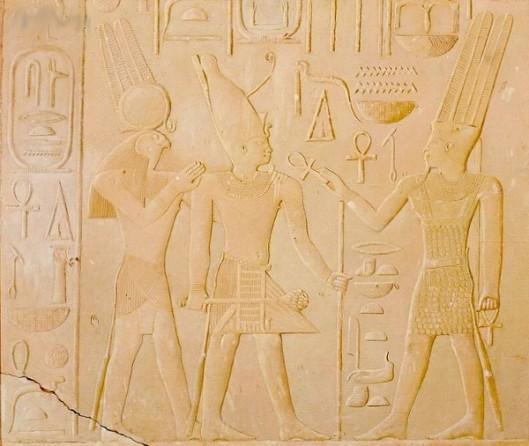 King Sesostris Between The Gods Amun And Horus-Ra