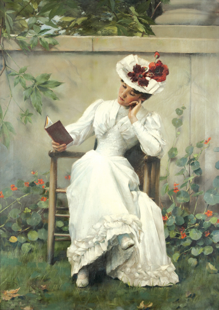 Lady With A Book In The Garden