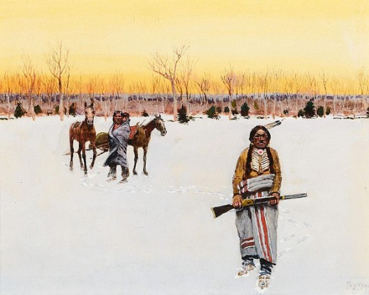 Leaving To Hunt - Indians With Travois