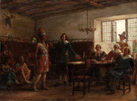 Massasoit Signing A Treaty