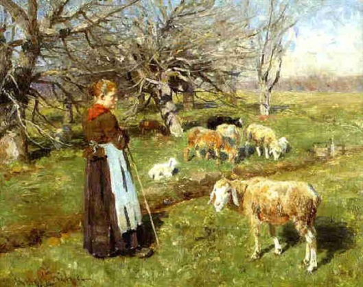 Meadow Landscape With Shepherdess And Flock