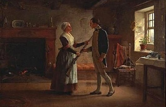 Off To War - Revolutionary Soldier Bidding Farewell To His Wife