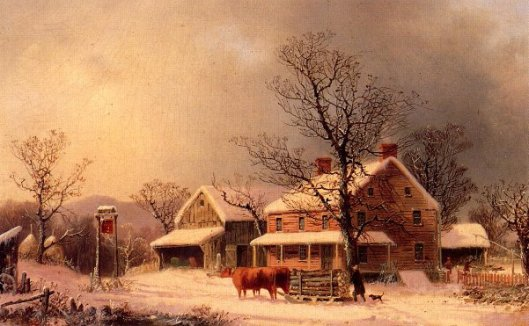 Oxen Hauling Logs On A Sled