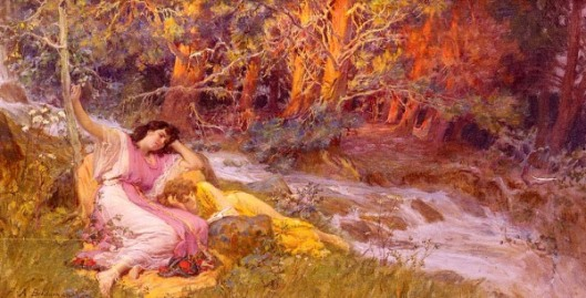 Reclining By A Stream