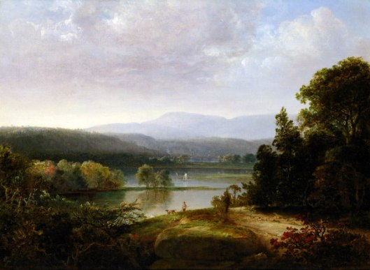 River View With Hunters And Dogs