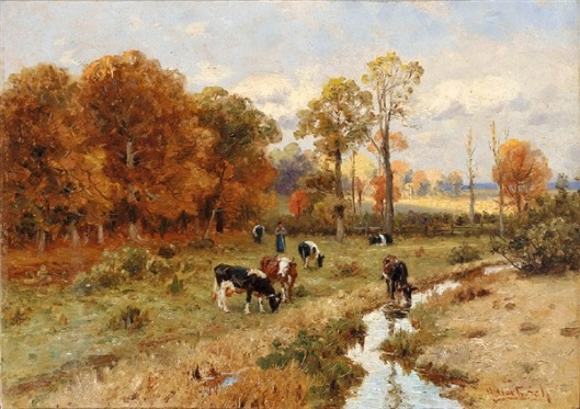 Shepherd With Cows In Autumnal Evening Pasture