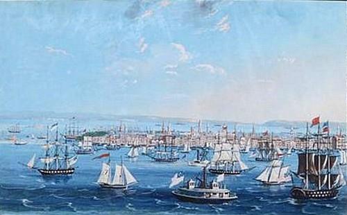 Ships In Harbor Off Of Manhattan