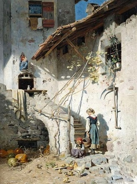 South Tyrolean Farmer's Wife And Daughter In The Sunny Courtyard Of The Farmhouse