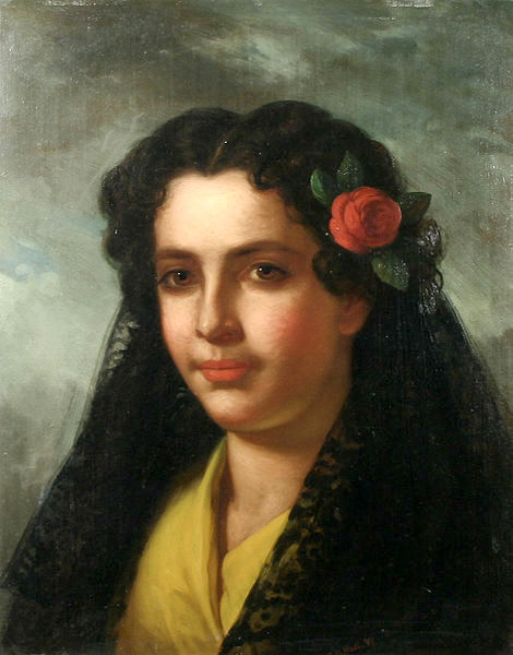 Spanish Woman With A Lace Shawl And Rose