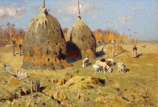 Spring Landscape With Haystacks And Shepherdess